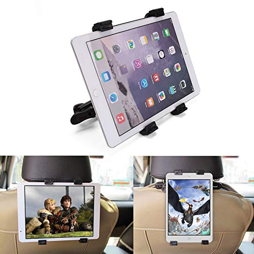 XER Montaje del reposacabezas del Soporte de la Tableta del Coche, Soporte Giratorio Universal 360 para Todas Las tabletas de 7~10', iPad Pro 9.7, 10.5, iPad Air Mini 2 3 4, iPhone