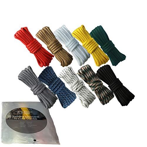 RainbowStone Paracord Combo für Armband/Fußkettchen/Griff Wrap-10 * 3m 4mm Standard Paracords