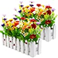 XONOR Artificial Flower Plants - Mixed Color Daisies in Picket Fence Pot for Indoor Office Wedding Home Decor, 2 Sets