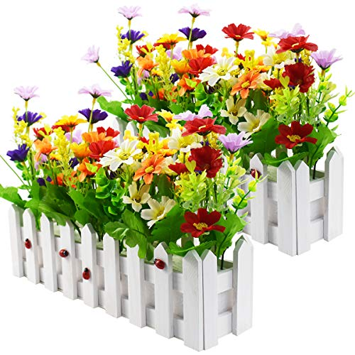 XONOR Artificial Flower Plants - Mixed Color Daisies in Picket Fence Pot for Indoor Office Wedding Home Decor (2 Sets, Daisy)