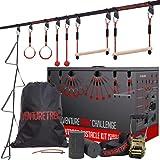 VENTURETRAIL Challenge 50FT Ninja Warrior Obstacle Course for Kids - Ninja Slackline for Backyard...