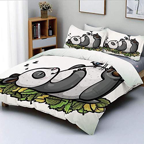 Juego de funda nórdica, oso panda durmiente y pájaros en su vientre, amigo infantil, naturaleza, animal lindo, dibujos animados, decorativo, juego de cama de 3 piezas con 2 fundas de almohada, multico