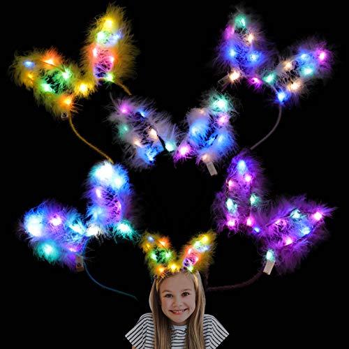 Herefun Hasen Haarreif Leuchtendes Stirnband, 6PCS LED Stirnband Bunt Leucht Hairband Stirnband Hasenohren, Easter Geburtstag Weihnachten Party Erwachsene Kinder Leucht Kopfstück Hairband Rabbit Ear