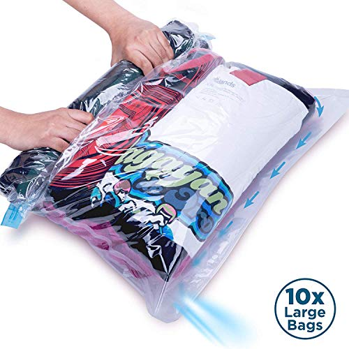 10 Large Space Saving Rolling Compression Bags for Travel and Storage - No Vacuum Pump Needed. Roll Up Space Saver Bag Set for Clothes and Blankets. Best For Flights, Packing Cubes & Drawer Organizers