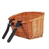 革ストラップ付き籐バイクバスケット自転車フロントハンドルバーバスケット食品果物野菜籐バスケットコンテナ子供用