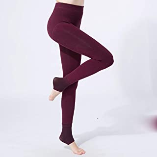 High Waist and Velvet Leggings Women's Thick Outer Cotton Leggings, One Warm Pants, Foot Tights (Lining Plus Velvet), Six Colors Optional, 70kg Or Less QDDSP (Color : Wine red)
