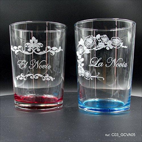 L9 Singular ® Juego de 2 Vasos de Sidra o Anchos con Apoyo en Color para Bodas grabadas con Laser en Estuche para Regalo Original