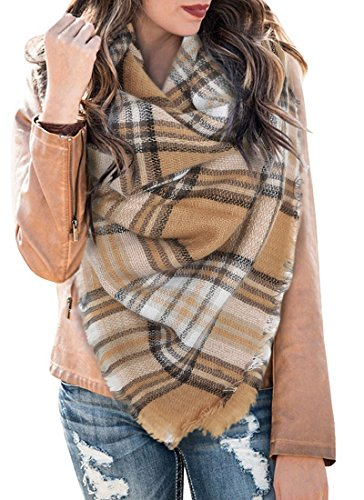 Hooleeger Schal Damen Winter Kariert Karo Tartan Streifen Muster Scarf Oversized übergroßer Quadratisch Deckenschal