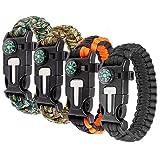Bracelet Survie Boussole Bracelet Kit Survie Multifonction Bracelet Survie en Corde Parachute Bracelet Survie...