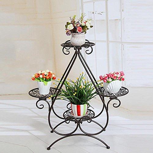 LLLXUHA Art de fer métal Support de fleurs, intérieur Multi-couche Type de plancher Étagère de rangement, balcon Plantes charnues Présentoir,22*66*70cm , copper