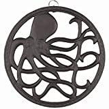 gasaré, Cast Iron Trivet, Octopus Decor, for Hot Dishes, Pots, Pans, Kitchen, Rubber Feet Caps, Ring Hanger, 8 Inches, Rustic Brown Finish, 1 Unit