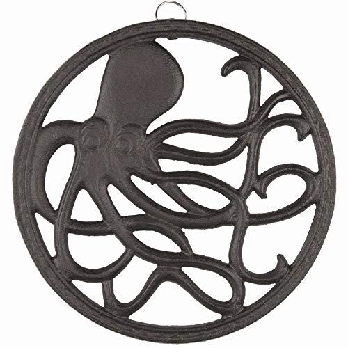 gasaré, Cast Iron Trivet, Octopus Decor, for Hot Dishes, Pots, Pans, Kitchen, Rubber Feet Caps, Ring Hanger, 8 Inches, Rustic Brown Finish, 1 Unit