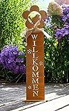 LB H&F Rostsäule Roststeele WILLKOMMEN 58cm Groß Rost Rostdeko Vogel Gartendeko zum hinstellen/draußen Wetterfest (Braun)