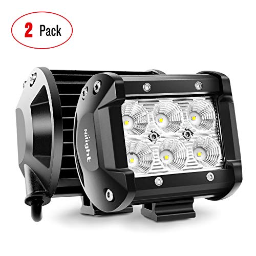 Nilight LED Light Bar 2pcs 18 W 10,2 cm Flood conducción Fog Light Off Road luces Barco Luces de…