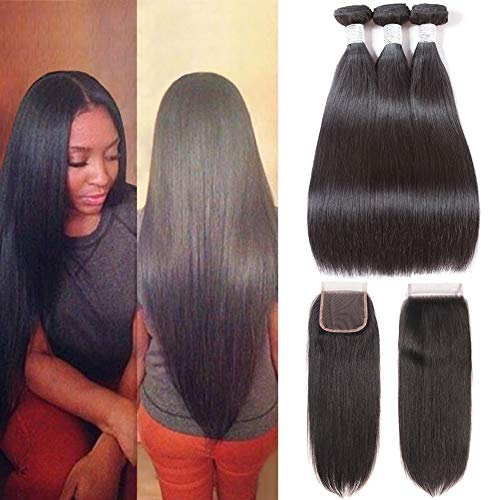 Subella Straight Hair 3 Bundles with Closure (14 16 18+12) 9A Unprocessed Brazilian Virgin Human Hair Bundles with Lace Closure Free Part