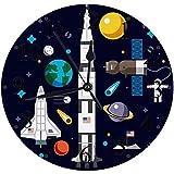 Silencioso Wall Clock Decoración de hogar de Reloj de Redondo,Universe Landing Shuttle Nave espacial Space Sun Astronaut Flat Stars Set Ciencia Tecnología World,para Hogar, Sala de Estar, el Aula