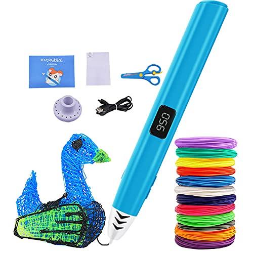Pluma de impresión 3D, Lápiz de impresión 3D con Pantalla LCD, 3 Velocidades Ajustables, 1.75 mm PCL Filamento de Varios Colores,Bolígrafo 3D inteligente Para Niños/Adultos,Blue