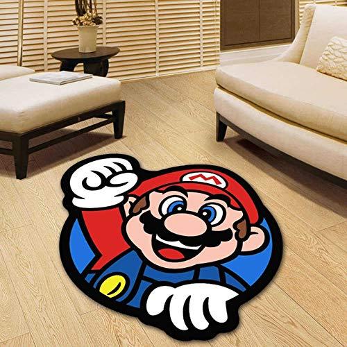 Zcm Tapis Grandes Chambres Super Chaise pépinière Tapis de Tapis Mario Round Garden Floor Pad Tapis de Cuisine Tapis Anti-dérapant Tapis 3D (Farbe : 1, Größe : Diameter 80cm)