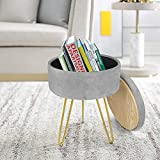 Footrest Stool Round Velvet Storage Modern Ottoman Upholstered Vanity Footstool Stool Side Table Seat Dressing Chair with Golden Metal Leg Tray Top Coffee Table (Gray)