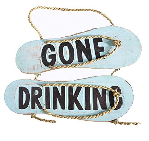 'N/A' Letrero rústico de granja Flip Flop Gone Drinking Sign Toallas Playa Tabla de surf de madera para colgar en la pared Arte Tiki Bar