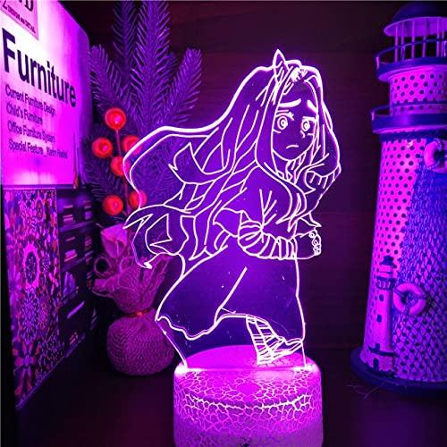 Boku no Hero Academia Eri LED ANIME LAMP 3D Nightlights MY HERO ACADEMIA 3D Visual Light Lampara para regalo de Navidad, base de crack, sin control remoto