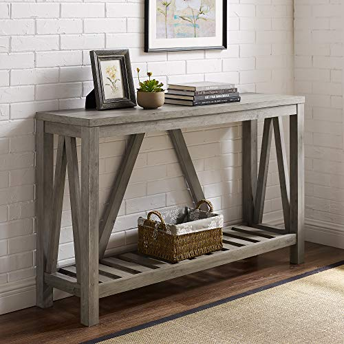 Walker Edison Modern Farmhouse Accent Entryway Entry Living Room End Table, 52 Inch, Grey Wash