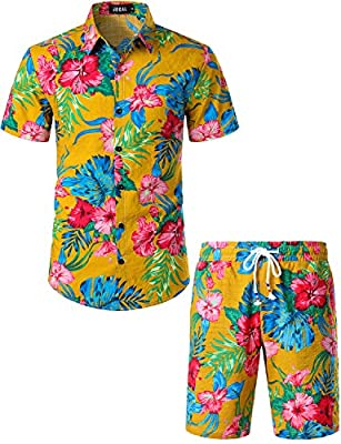 JOGAL Men's Flower Casual Button Down Short Sleeve Hawaiian Shirt Suits (Ginger, Large)