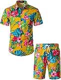 JOGAL Men's Flower Casual Button Down Short Sleeve Hawaiian Shirt Suits (Ginger, Medium)
