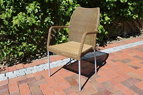 Destiny Gartensessel Stapelsessel Sevilla Natur Geflechtsessel Polyrattan Loom Optik Sessel OHNE Kissen