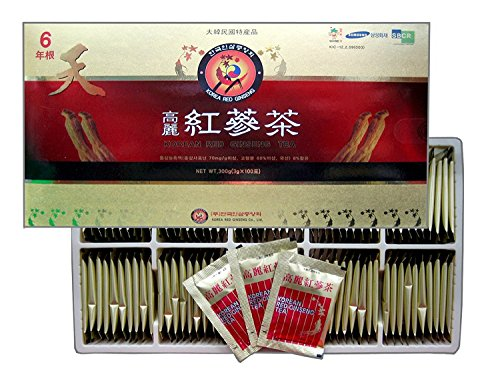 Korean Red Ginseng Tea 3g x 100 Packets, Ginseng Tea, Made in Korea -Korean Red Ginseng Roots
