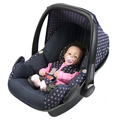 BAMBINIWELT Ersatzbezug für Maxi-Cosi PEBBLE 5-tlg, Bezug für Babyschale, Komplett-Set STERNE MARINE XX