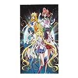Mantel de anime Sailor Moon – Mantel redondo de 152 x 274 cm para cubierta de mesa en poliéster lavable – ideal para mesa de bufet, fiestas, cenas de vacaciones.