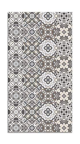 Panorama Tappeto Vinile Piastrella Idraulica Orientale Grigio 140x200 cm - Tappeto da Cucina Piastrelle Antiscivolo - Tappeto Moderno Salotto - Tappeto Lavabile Ignifugo - Tappeto Grande