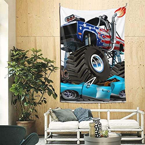Decoración de la pared de la habitación de la niña de dibujos animados lindo Monster Truck pared decoración del hogar arte de la pared para el apartamento dormitorio telón de fondo decoración del hoga
