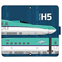 iPhone8 Plus ケース [デザイン:22.H5-navy/マグネットハンドあり] 新幹線 JR東日本 手帳型 スマホケース カバー アイフォン iphone8p