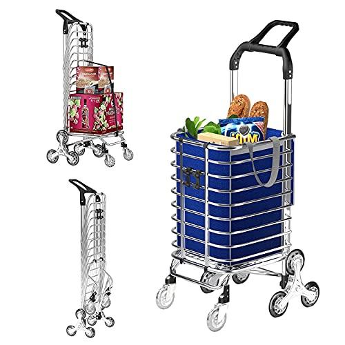 FASSTUREF Carrito de la Compra de comestibles Ligero, Carrito de la Compra para Subir escaleras de 8 Ruedas, Remolque doméstico Plegable de Gran Capacidad de 35 l