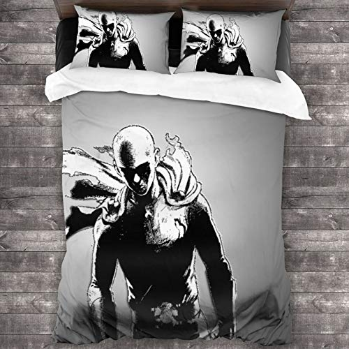 ESCFLAG One Punch Man Three-piece Luxurious And Comfortable Bedding Soft Microfiber One Quilt Cover 86 X 70 In + Two Pillowcases 20 X 30 In