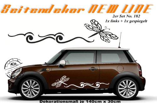 Autoaufkleber Set - Seitendekor ***LIBELLE*** Dekorationsmaß 2x 140cm x 30cm (weiss)