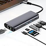 Adaptador multipuerto USB C Hub HDMI 7-IN-1, con salida HDMI 4K, Ethernet de 1 Gbps, 2 puertos USB 3.0, lector de tarjetas SD / TF, compatible con MacBook Pro 2020, ipad Pro 2020, Samsung