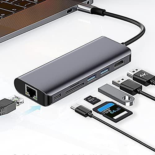 Hub USB C, 7 in 1 Adattatore USB C con uscita 4K HDMI, Ethernet 1 Gbps, 2 porte USB 3.0, lettore di schede SD/TF, compatibile per MacBook Pro,Samsung