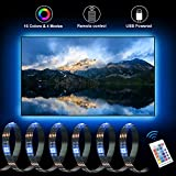 inShareplus LED TV Backlight Strip, 1M/3.3Ft Total 30 LEDs RGB LED Strip Lights for 40 to 60 in HDTV Neon Light Bias Lighting with RF Remote, 5V USB Powered