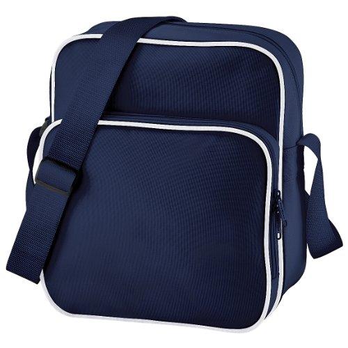 Bagbase - Bolso bandolera modelo Retro (10 litros) (Talla Única/Azul marino/blanco)