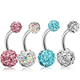ORAZIO 4-8Pcs 14G Stainless Steel Belly Button Rings Screw Navel Bars Body Piercing