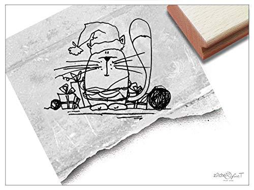 Stempel Weihnachtsstempel KATZE mit Mütze - Tierstempel Weihnachten Karten Geschenkanhänger Basteln Weihnachtsdeko Geschenk für Kinder - zAcheR-fineT