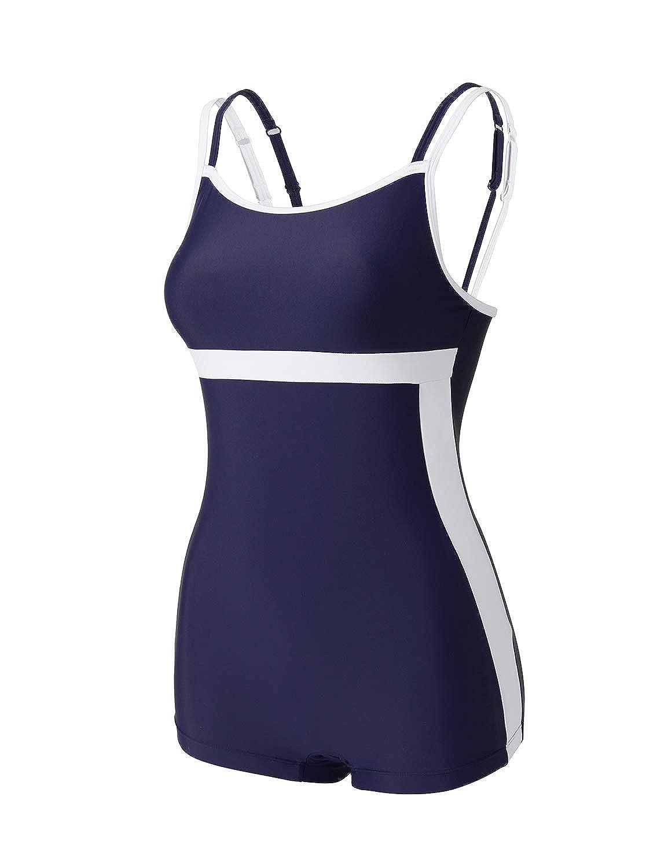 DELIMIRA レディース 水着 フィットネス ワンピース 大きいサイズ キャミソール パッド付 耐塩素性 競泳 練習用