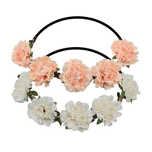 Shintop Blumenkranz Haare, Blumen Stirnband Blumenkrone Boho Blumen Haarkranz Brautbrautjungfern Haarband für Damen Mädchen (2 Stück)