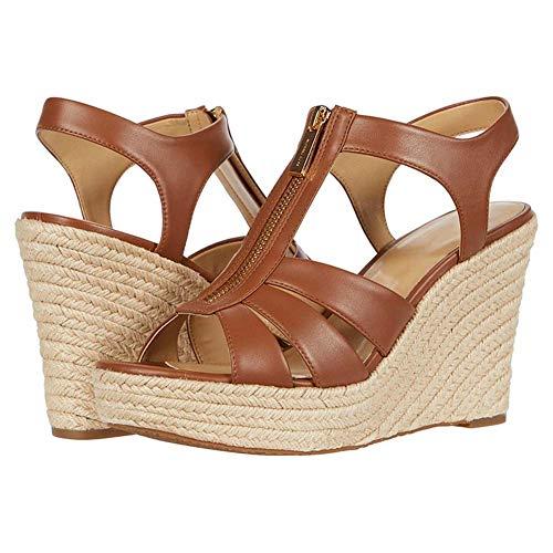 MKXF Art und Weise Plus Größe Damen Keilplattform Sandalen mit reißverschluss Plattform-Absatz-Woven,Braun,46