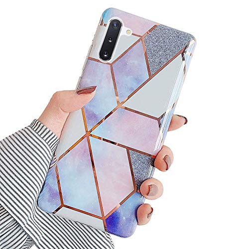 Urhause Kompatibel mit Samsung Galaxy Note 10 Hülle TPU Silikon Bunt Schutzhülle,[Marmor Muster Silikonhülle] Hülle Gemalt,Ultra Slim Durchsichtig mit Muster Bumper Stoßfest Hülle,Lila