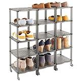 mDesign Mueble zapatero – Zapatero grande con 15 baldas para sandalias, botines y botas – Organizador de zapatos de plástico para el pasillo o el armario – gris humo