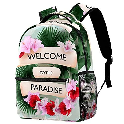 XiangHeFu Mochila ligera para mochila de viaje escolar para niñas y niños Bienvenido al paraíso tropical. Mochila estampada